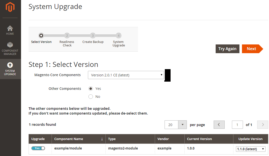 screenshot of a screen where the user is upgrading to a new version of magento
