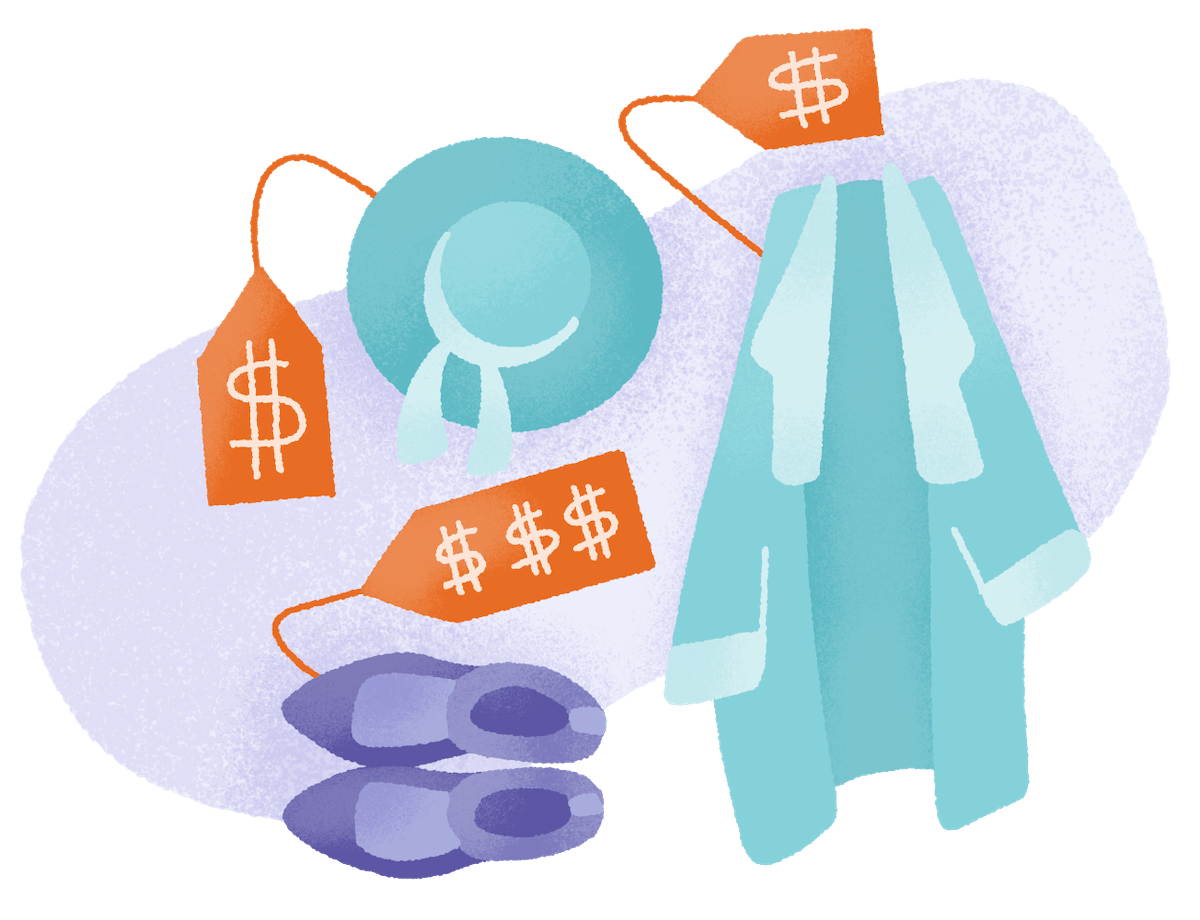 a purple and teal illustration depicting a hat, jacket and shoes