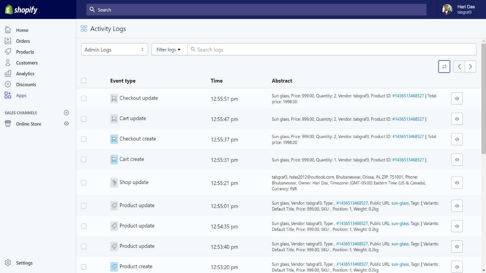 screenshot of the Logify app in Shopify account