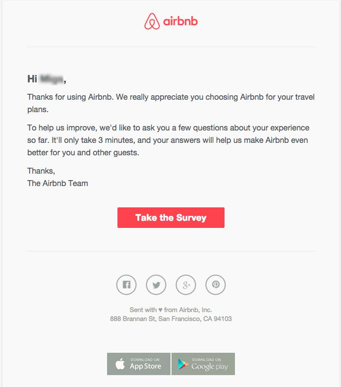 airbnb customer survey