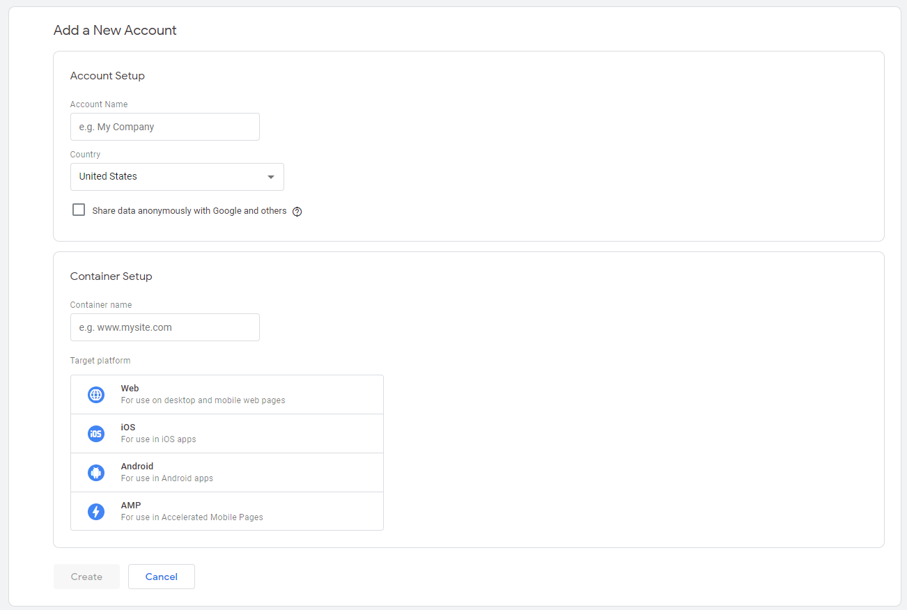 Google Tag Manager account setup