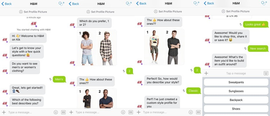An example of H&M's virtual shopping assistant via Facebook Messenger