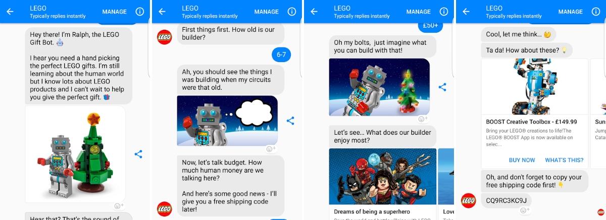 Example of LEGO's virtual shopping assistant via Facebook Messenger
