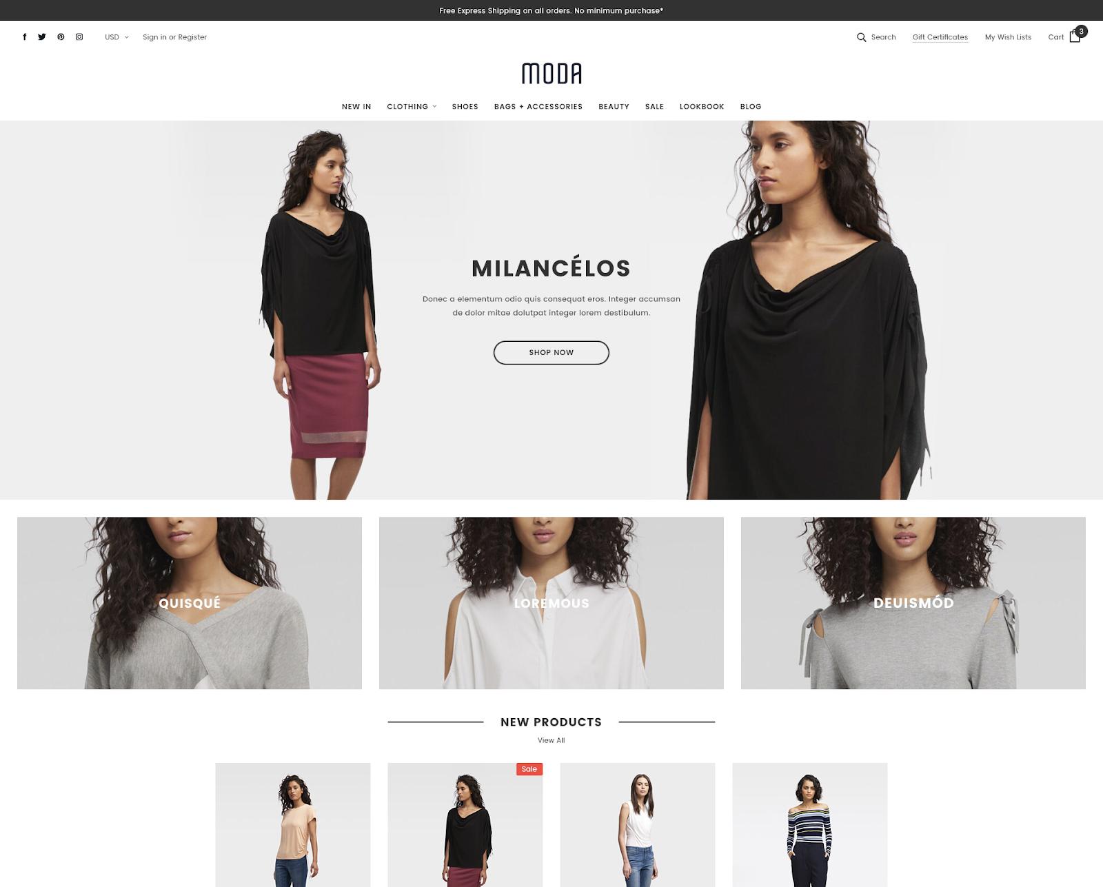 MODA BigCommerce theme