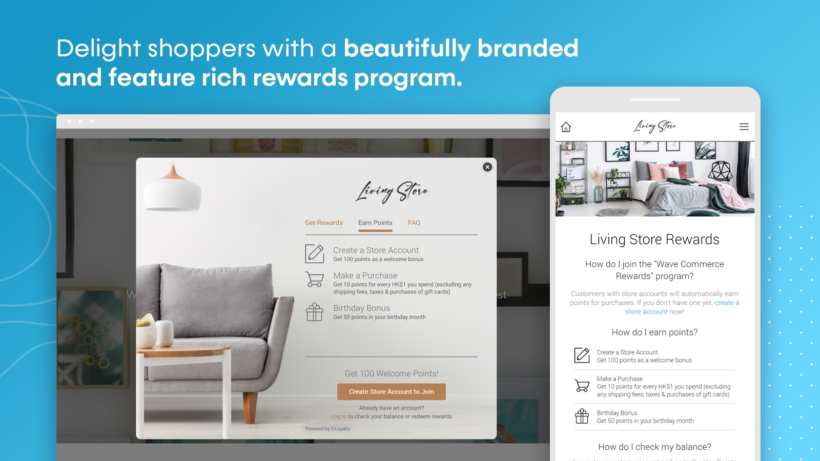 S Loyalty app in use by a home goods website with a blue background