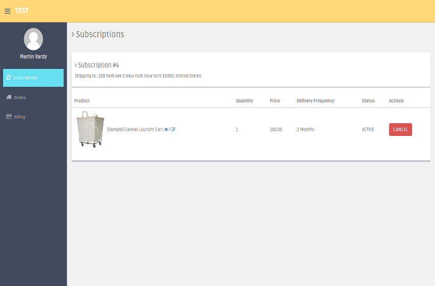 Subscrimia order page with a laundry cart item