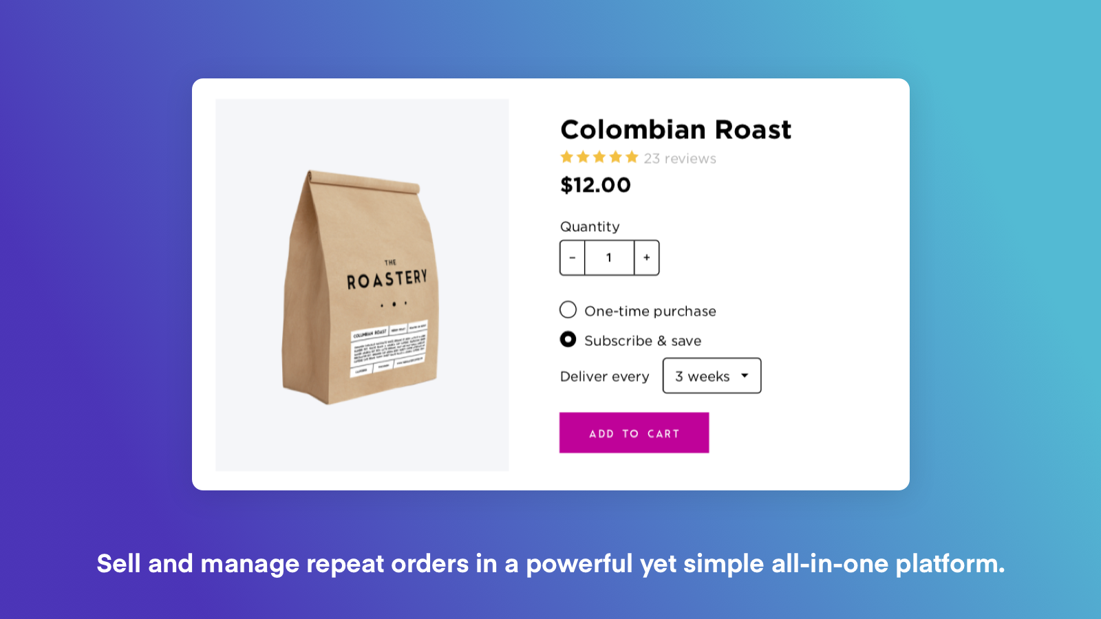 ReCharge order page with a bag of colombian roast coffee