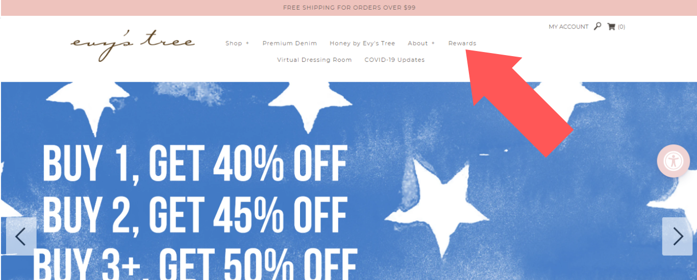 screenshot of Evy's Tree home page, which has white stars on a blue background