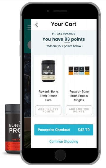 a screenshot of Dr. Axe's rewards program on a cell phone