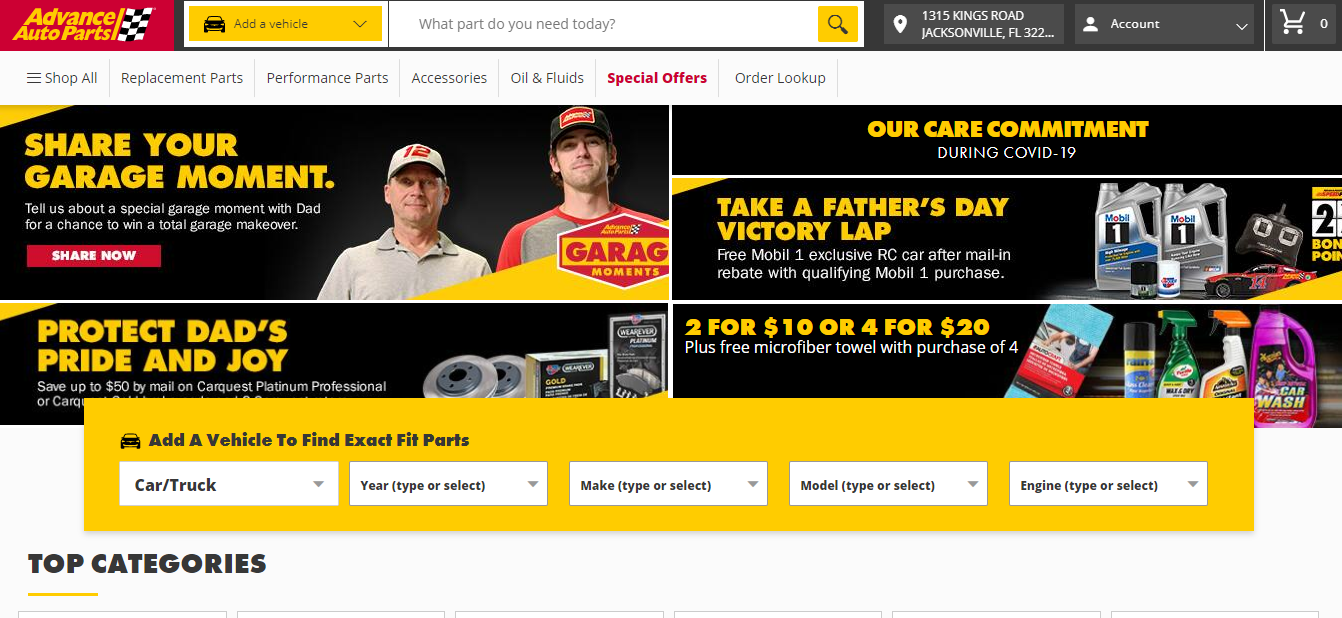 screenshot of the Advance Auto Parts homepage design
