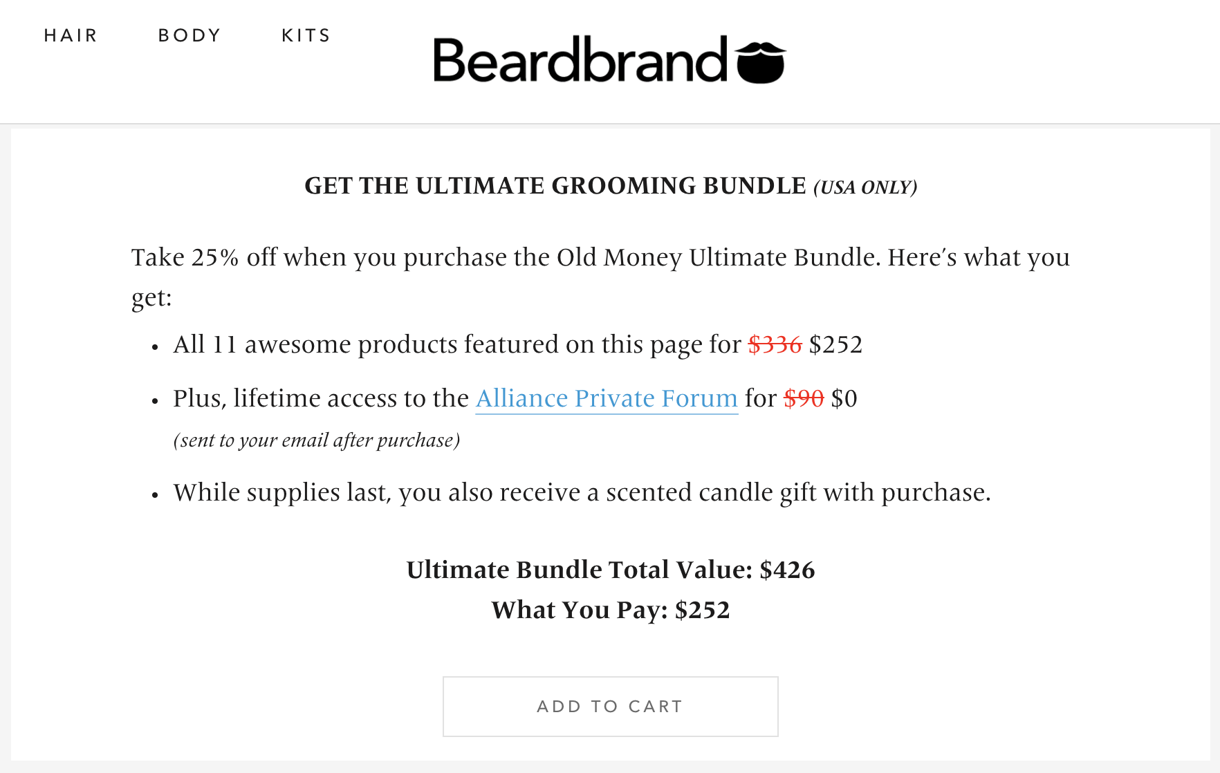 beardbrand ultimate grooming bundle page with add-to-cart button