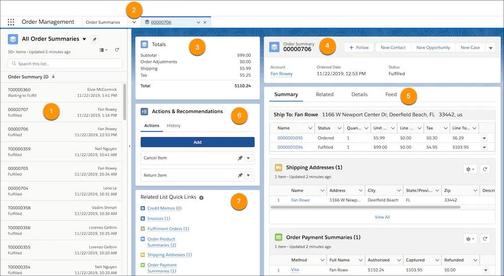 screenshot of the Salesforce Order Management Console