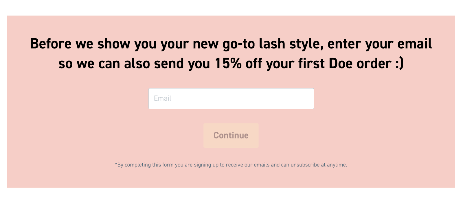 an example of doe dashes' pink and white email capture form on its website