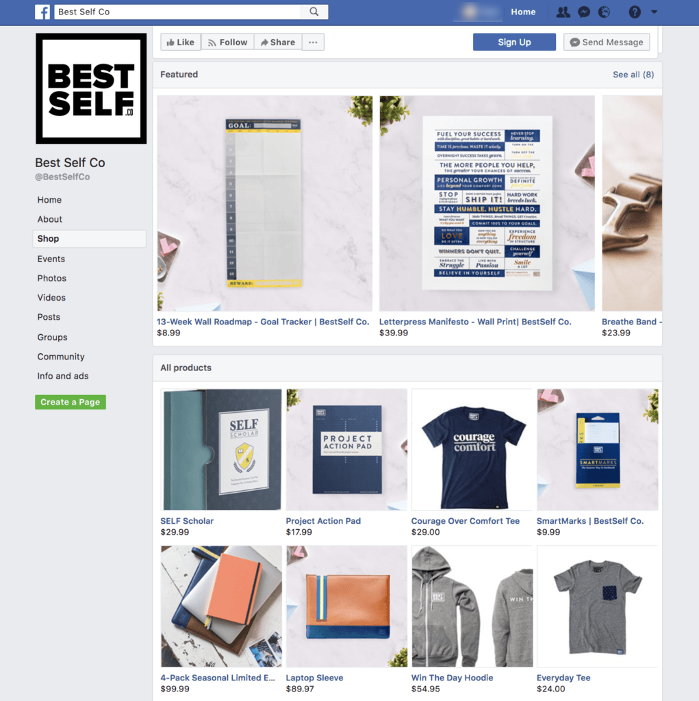 Best Self Co. Facebook Shops page showing featured products