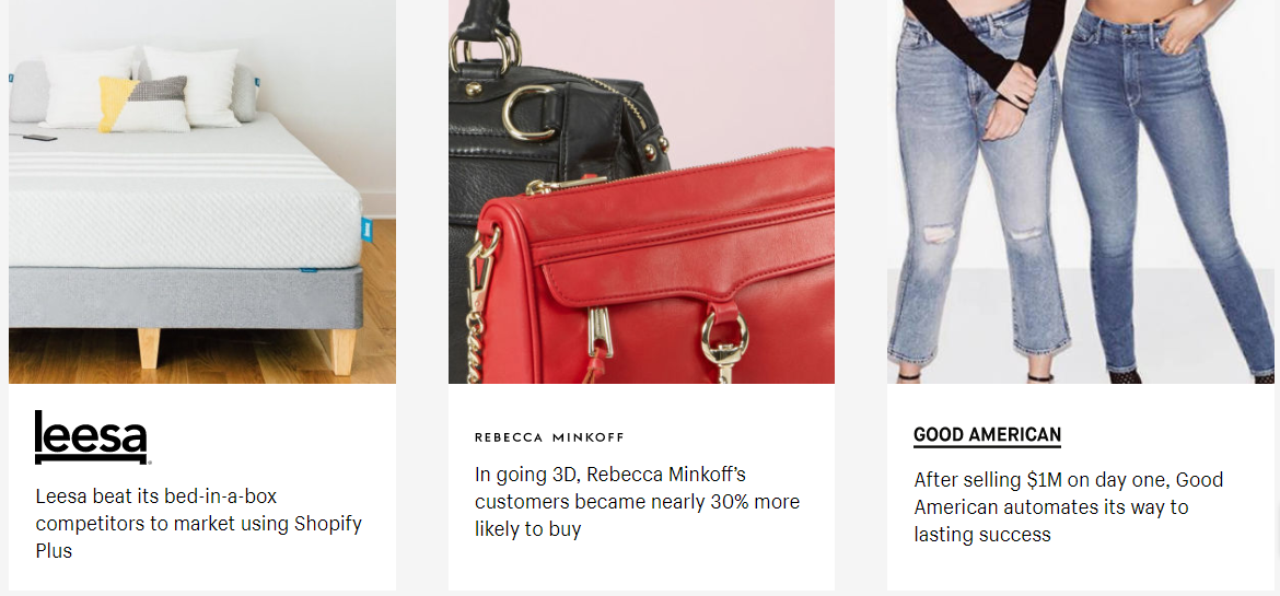 a screenshot of Shopify Plus customers, such as Lesa, Rebecca Minkoff and Good American