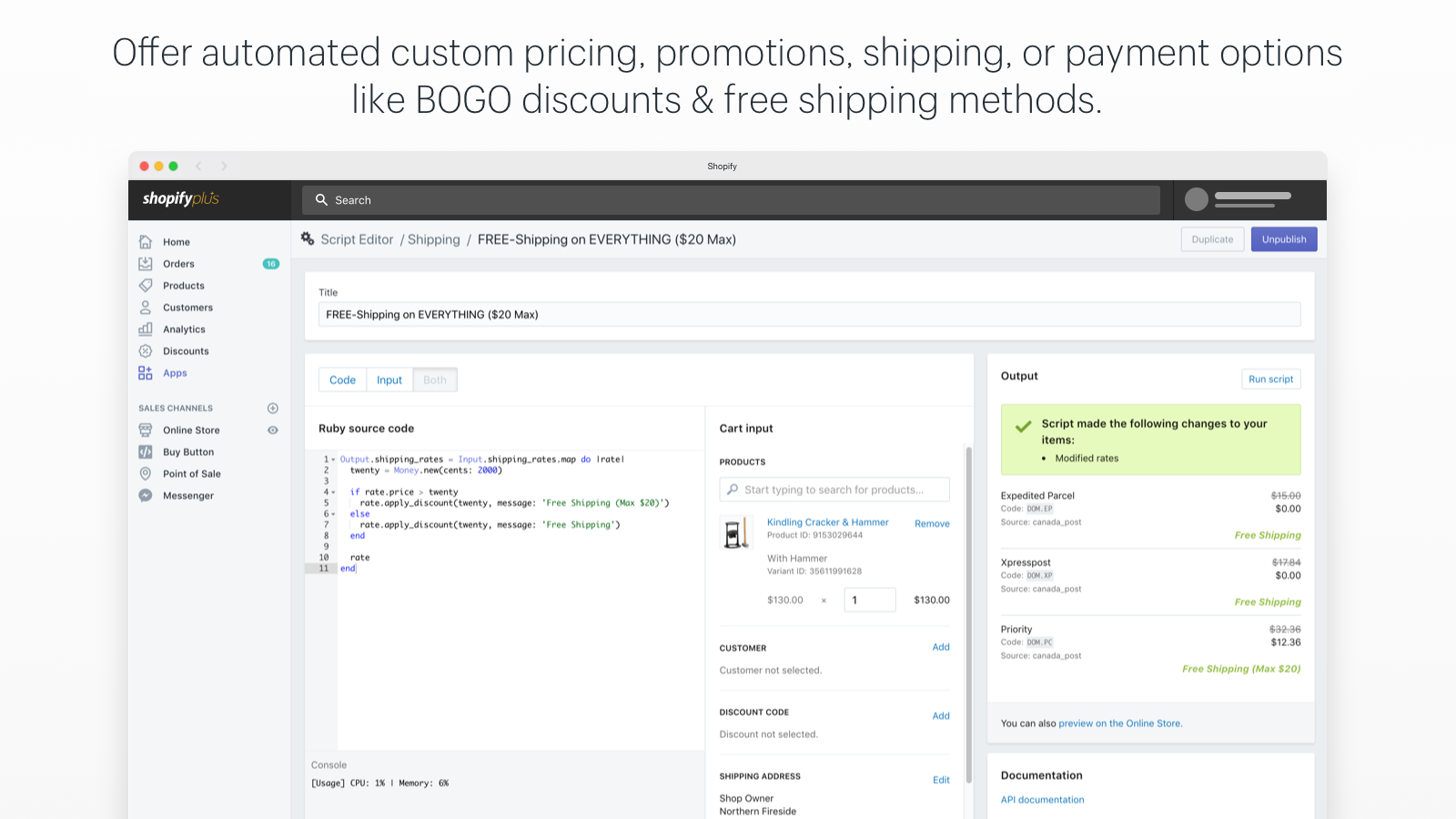 Create your own, or use our templates and resources in the Shopify Plus Script Editor