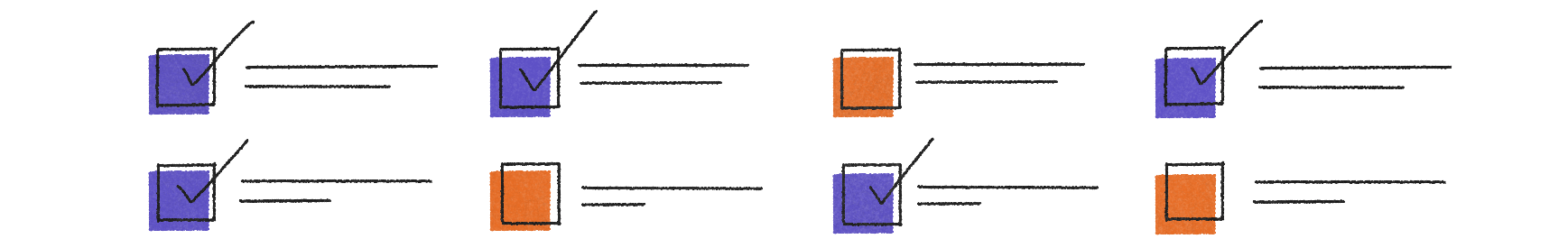abstract orange and purple checkboxes