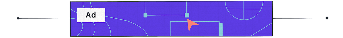 """an """"ad' box on top of purple, teal and range colors"""