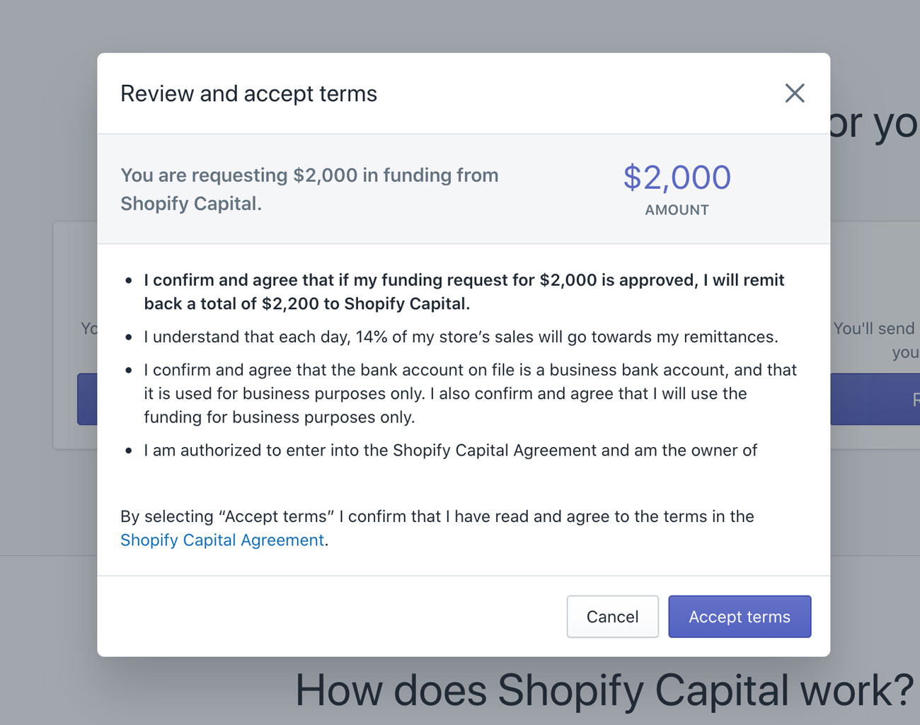 Shopify Capital accept terms