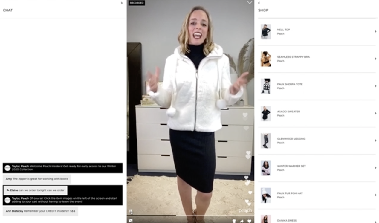 A screenshot of a woman with blonde hair doing a livestream via Bambuser while wearing a white winter jacket