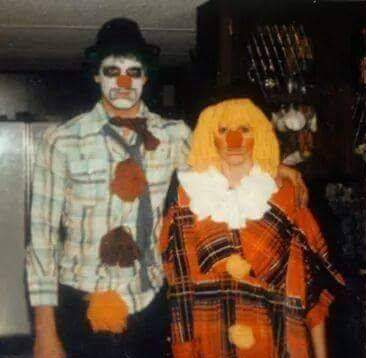 Thats my wife and myself. We decided to be clowns because We make Our family and friends laugh. Im always cracking jokes and showing friends card tricks and bar tricks.