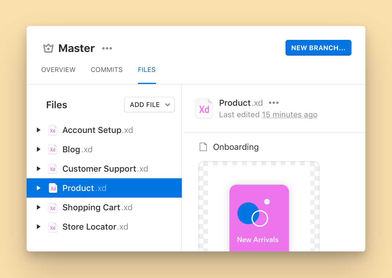 A Master Branch can include several Sketch and Sketch Library files