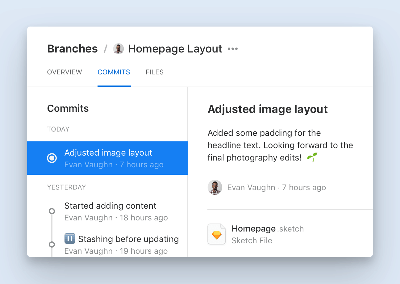 The Commit history of a Branch called 'Homepage Layout' shows three recent Commit messages that provide context for each design decision