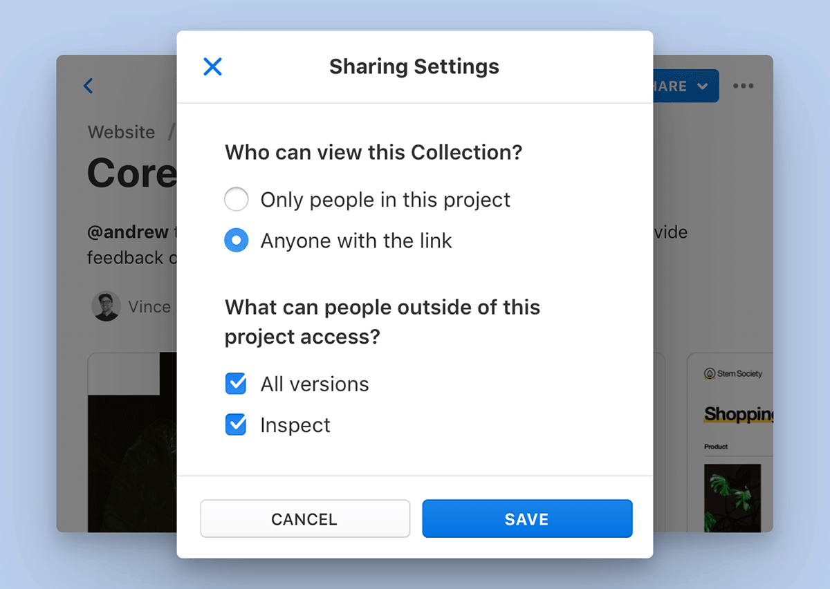 Settings in Abstract allow users to create public share links