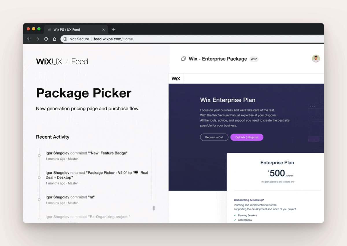 Wix's web app with activity stream, recently updated Projects, and communication across product teams using Abstract's SDK