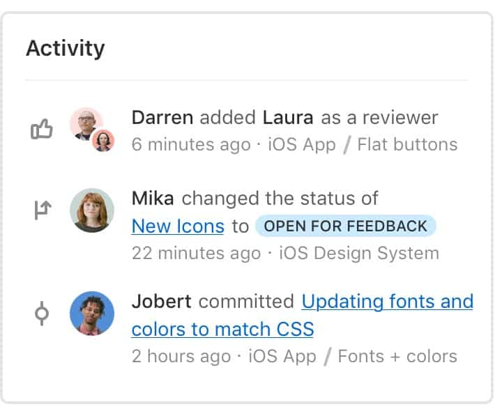 Activity feeds in Abstract include updates about commits, branch statuses, review requests, and more.