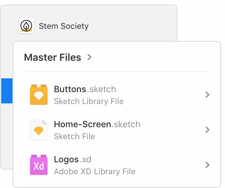 The Master overview screen in Abstract shows Sketch and Adobe XD files.