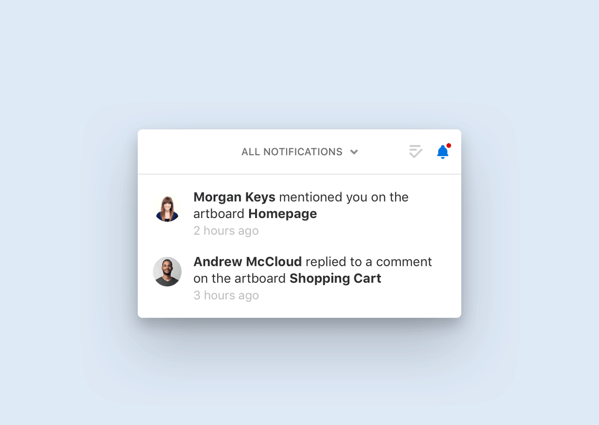 Notifications window in Abstract with mentions and replies to comments from the team
