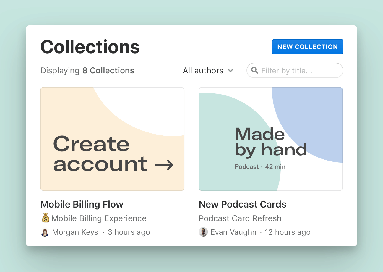 A project-level view of Collections in Abstract shows the most recent projects in a focused interface