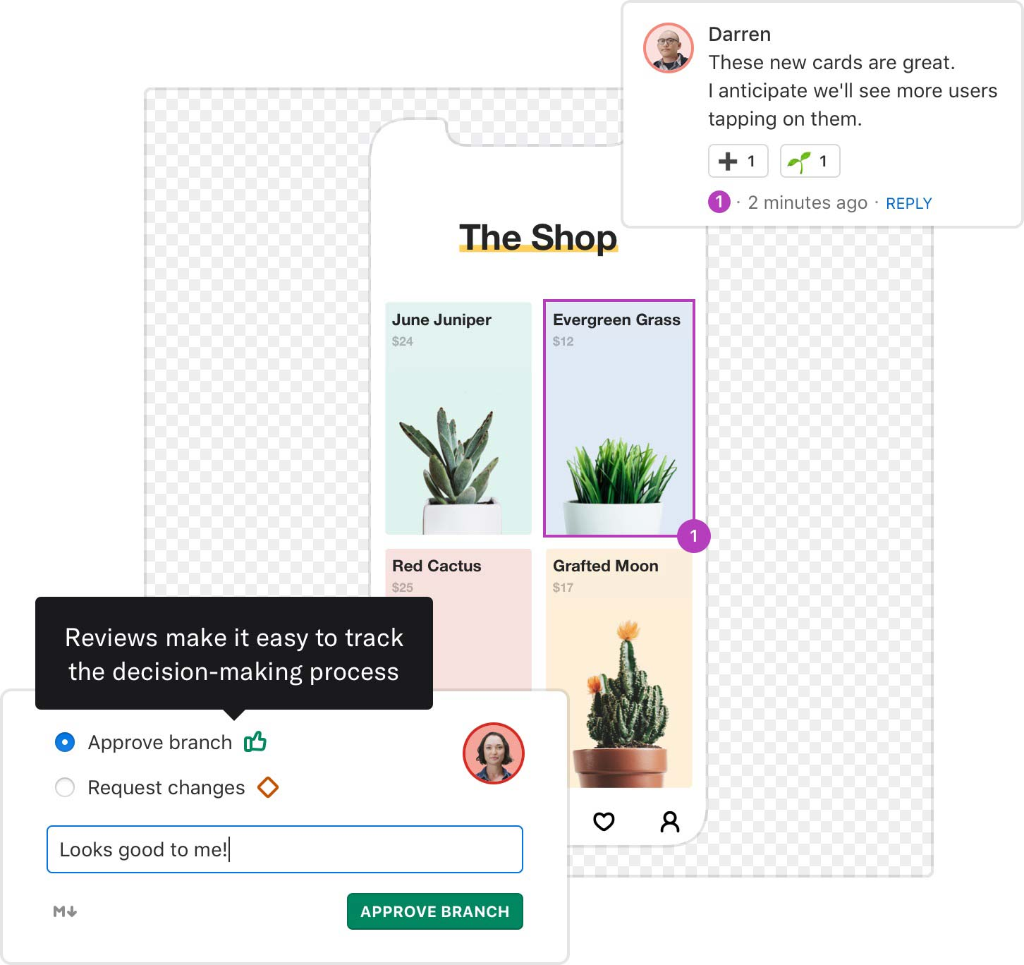 A preview of a specific artboard in Abstract with an annotated comment and a modal that indicates the branch is approved.