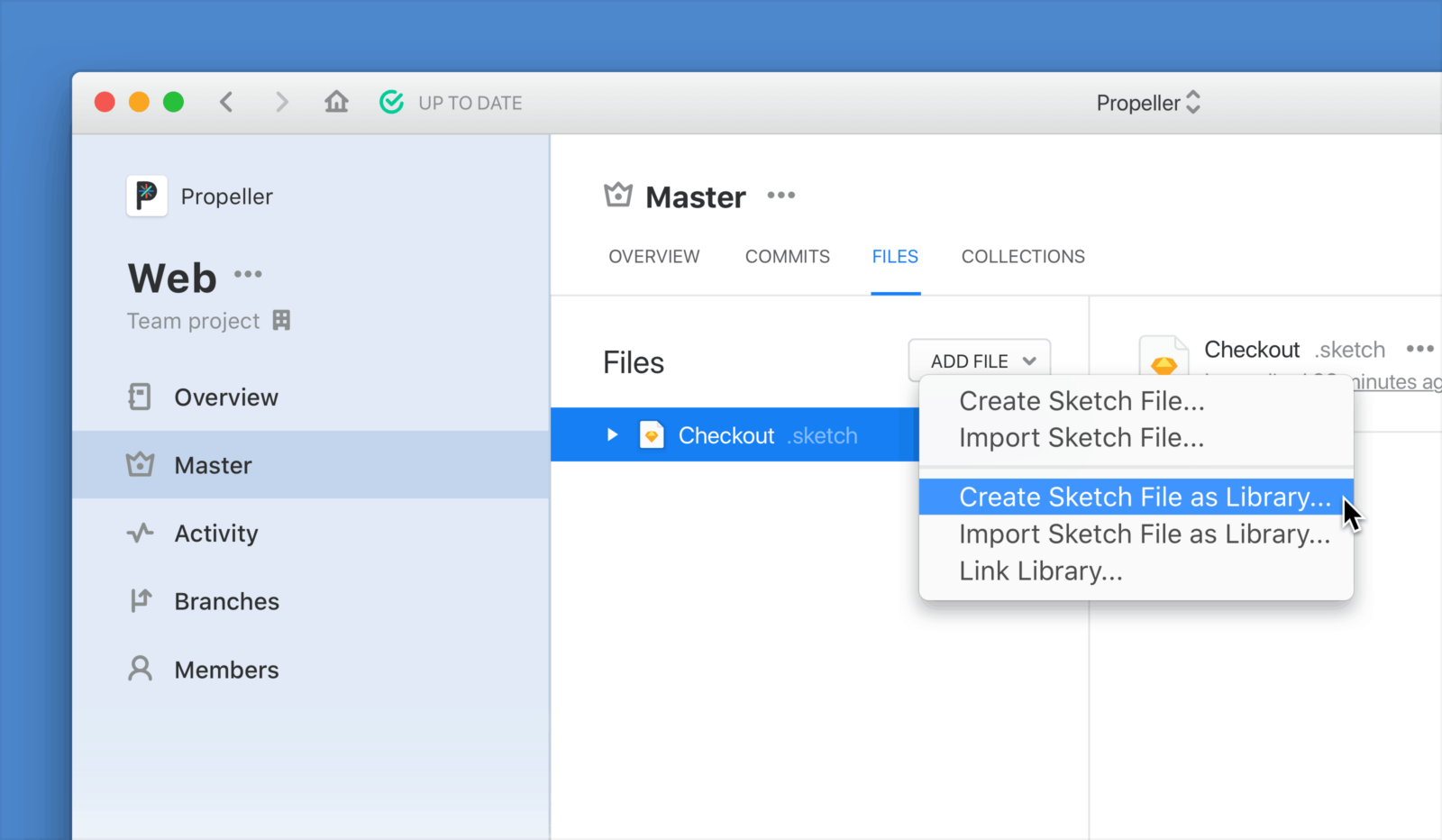 """Create Sketch File as Library"", on the ""Add File"" menu in Abstract"