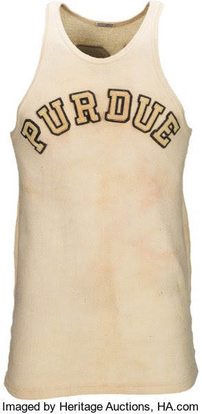 Basketball Collectibles:Uniforms, 1930-32 John Wooden Game Worn Purdue Boilermakers Jersey, MEARSA9.. ...