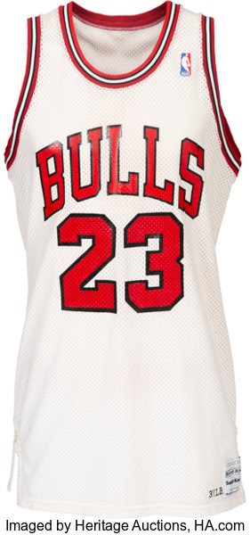 Basketball Collectibles:Uniforms, 1986-87 Michael Jordan Game Worn Chicago BullsUniform--Definitively Photo Matched to Five Games Including 56Points vs. Phila...