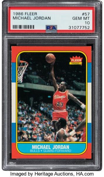Basketball Cards:Singles (1980-Now), 1986 Fleer Michael Jordan Rookie #57 PSA Gem Mint 10. ...