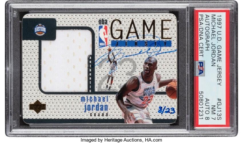 Basketball Cards:Singles (1980-Now), 1997 Upper Deck Game Jersey Michael Jordan (Autograph) #GJ13S PSANM 7, Auto 8 - #'d 8/23....