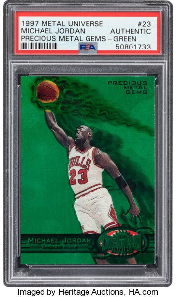 Basketball Cards:Singles (1980-Now), 1997 Metal Universe Michael Jordan (Precious Metal Gems - Green)#23 PSA Authentic - #'d 9/100. ...