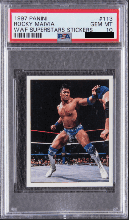 1997 Panini WWF Superstars Stickers Dwayne (The Rock) Johnson PSA 10