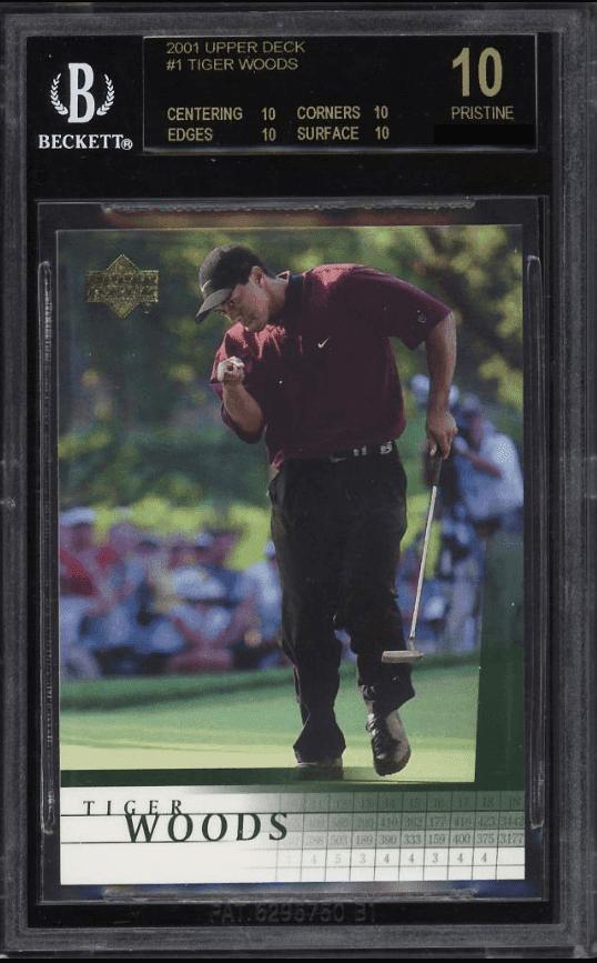 2001 Upper Deck Tiger Woods Base BGS 10 Black