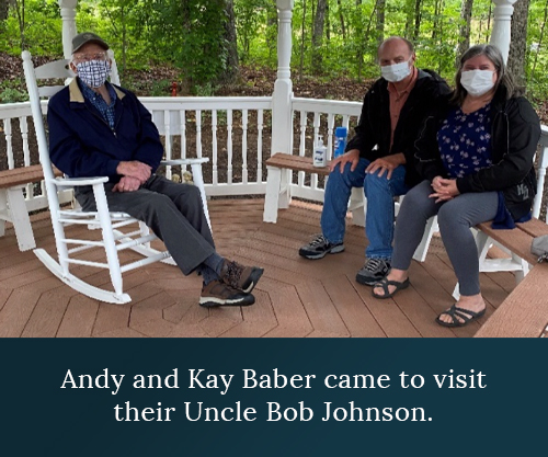 Andy and Kay Baber came to visit their Uncle Bob Johnson.
