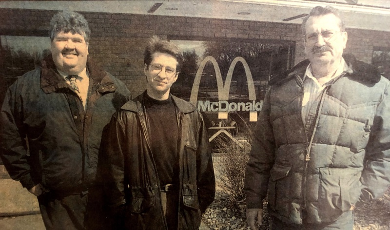 old photo of mike in front of mcdonalds