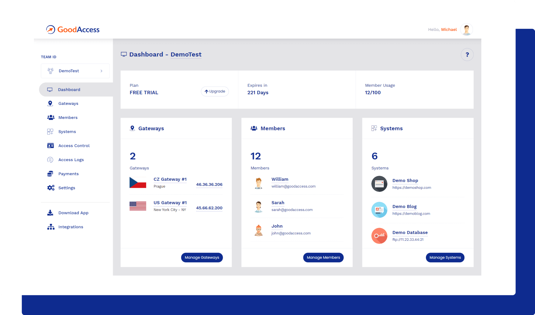 dashboard in GoodAccess product tour