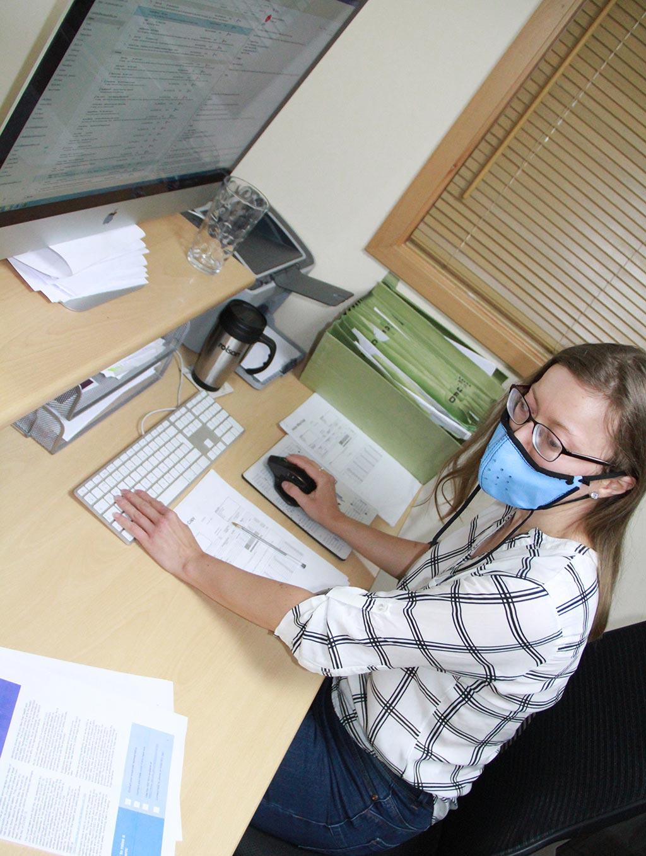 wearing mask at work