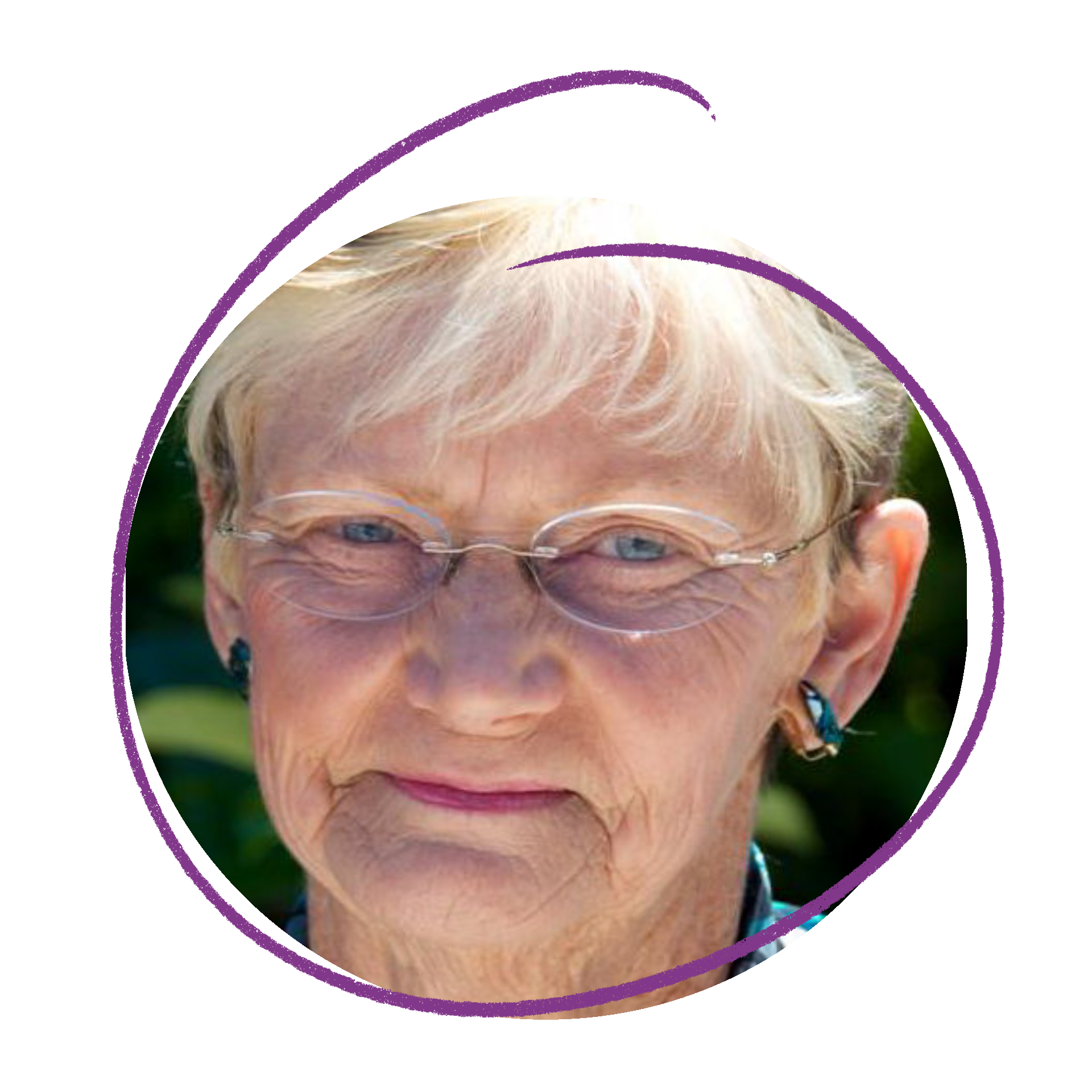 Close of photo of Judith - older woman wearing glasses.