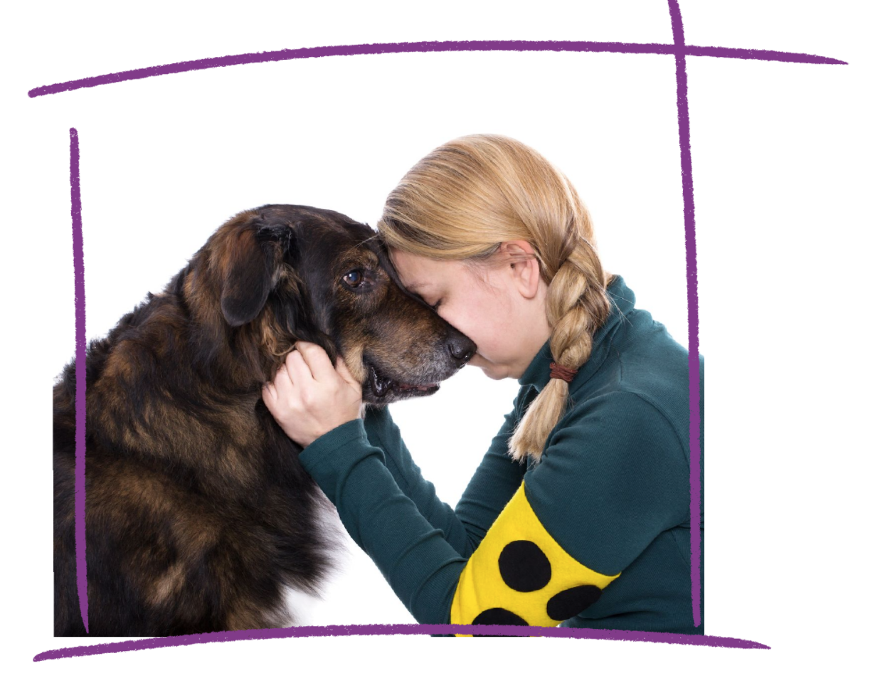 Photo of a woman with blonde plaited her kneeling and holding her head against a brown dog.
