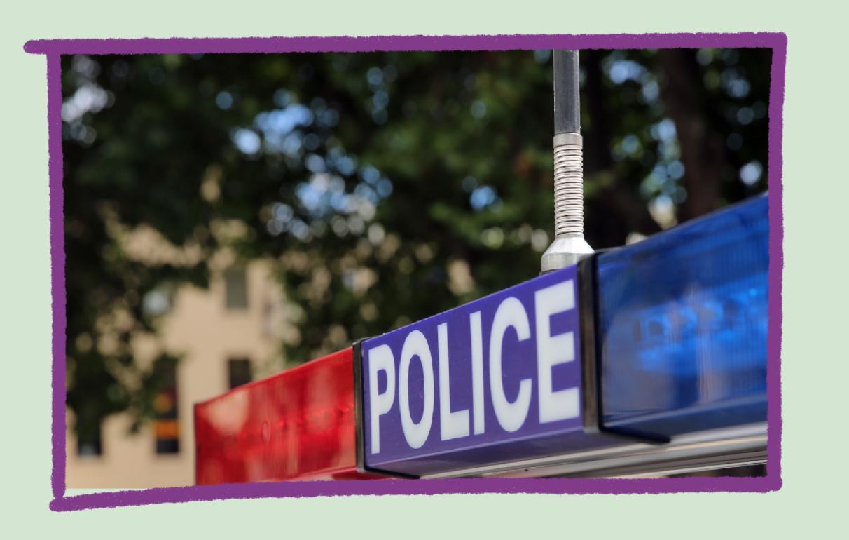 Photo of police car lights.