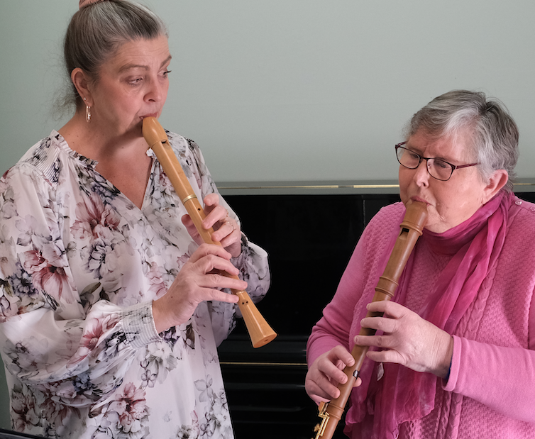 Samantha (music therapist) leading Helen through her music therapy session. (Duets were used to encourage Helen to listen).